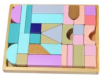 EcoToys Wooden Blocks With Tray 29pcs