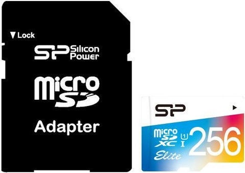 Silicon Power Elite Colorful microSDXC 256GB UHS-I Class 10 + SD Adapter