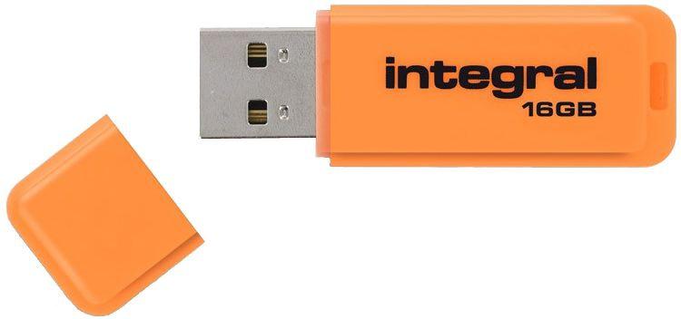 USB atmintinė Integral Neon Orange, USB 2.0, 16 GB
