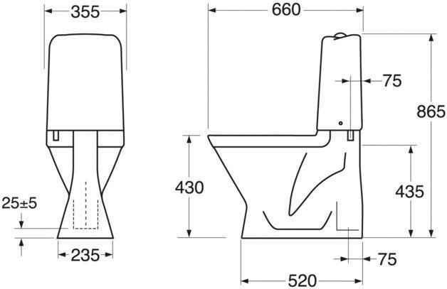 Tualete Gustavsberg Nordic3 3500 GB113500301213, ar vāku, 355 mm x 660 mm