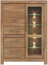 Black Red White Gent Glass Door Cabinet 115x158x42cm Stirling Oak