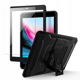 Spigen Tough Armor Tech Kickstand Case + Tempered Glass For Apple iPad 9.7 2018/2017 Black