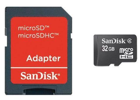 SanDisk 32GB Micro SDHC Class 4 + Adapter