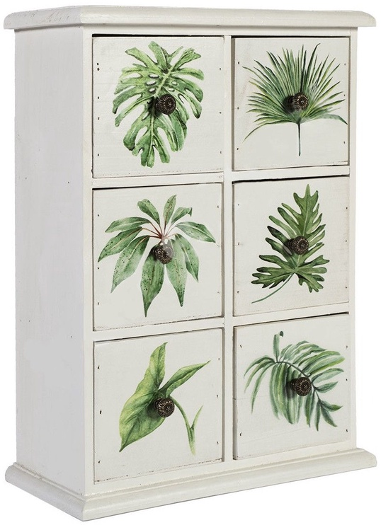 Home4you Vanity Cabinet With 6 drawers 30x13xH40cm Palm Leaf
