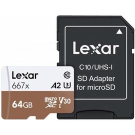 Lexar 64GB Professional 667x microSDXC UHS-I Card U3 V30 + SD Adapter