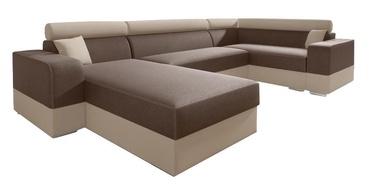 Stūra dīvāns Idzczak Meble Infinity Super Brown/Beige, labais, 332 x 185 x 93 cm