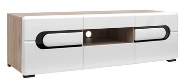 TV galds Black Red White Byron White/San Remo Oak, 1500x470x470 mm