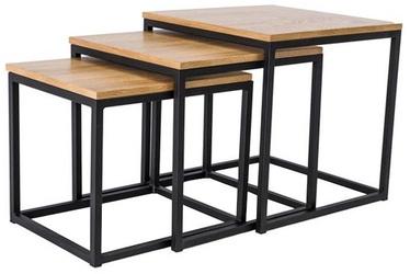 Kafijas galdiņš Signal Meble Trio Black/Oak, 500x500x500 mm