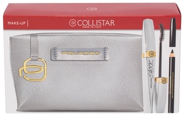 Collistar Mascara Shock Volume 8ml Black + 2g Kajal Pencil Black + Piquadro Cosmetic Bag