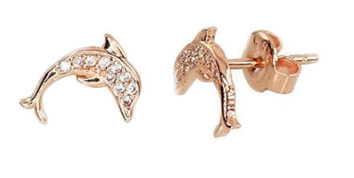 Diamond Sky Gold Earrings Dolphin Love XI