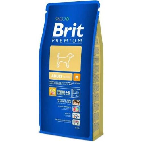 Sausas ėdalas šunims Brit Premium Adult Medium Breed, su vištiena, 15 kg