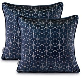Наволочка AmeliaHome Nancy Pillowcase 45x45 Dark Blue 2pcs