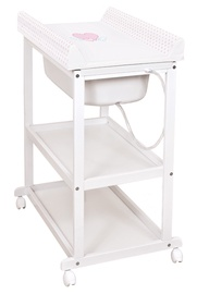 Ceba Baby Changing Station Laura Hearts White/Pink