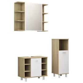Комплект мебели для ванной VLX 3056948, белый/дубовый, 30 x 30 см x 95 см