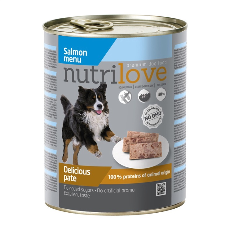 Konservuotas ėdalas šunims Nutrilove Delicious Pate, su lašiša, 800 g