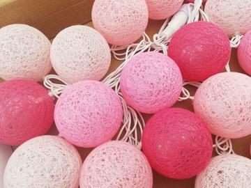 Shevlad Cotton Ball Connectable LED Turner D6cm 3.5m 20pcs Pink