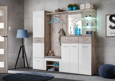 ASM Gustavo IV Wardrobe With Pillow Wellington Oak/Gloss White