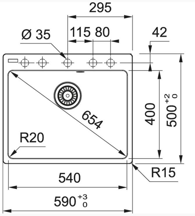 Раковина Franke 114.0627.654, 590 мм x 500 мм x 200 мм