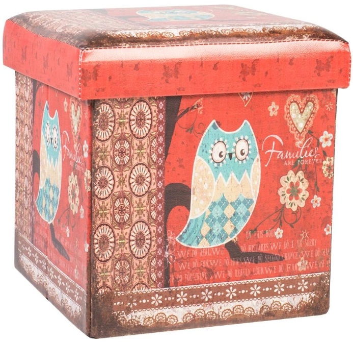 Home4you Pouf/Box with Lid Ventura 32x32xH32cm Owl Red