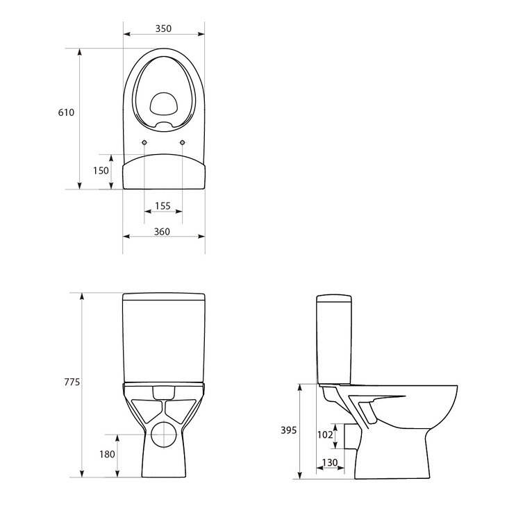 Tualete Cersanit Parva K27-063, ar vāku, 350x610 mm