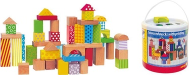 Woody Colored Building Blocks In Bucket 50pcs 90906
