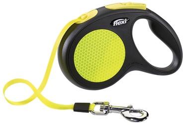 Поводок Flexi New Classic Neon, черный/желтый, 5 м