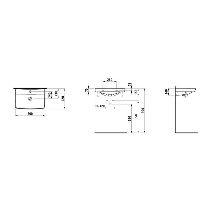 Izlietne Laufen Pro Nordic 8109560001, 60x42cm