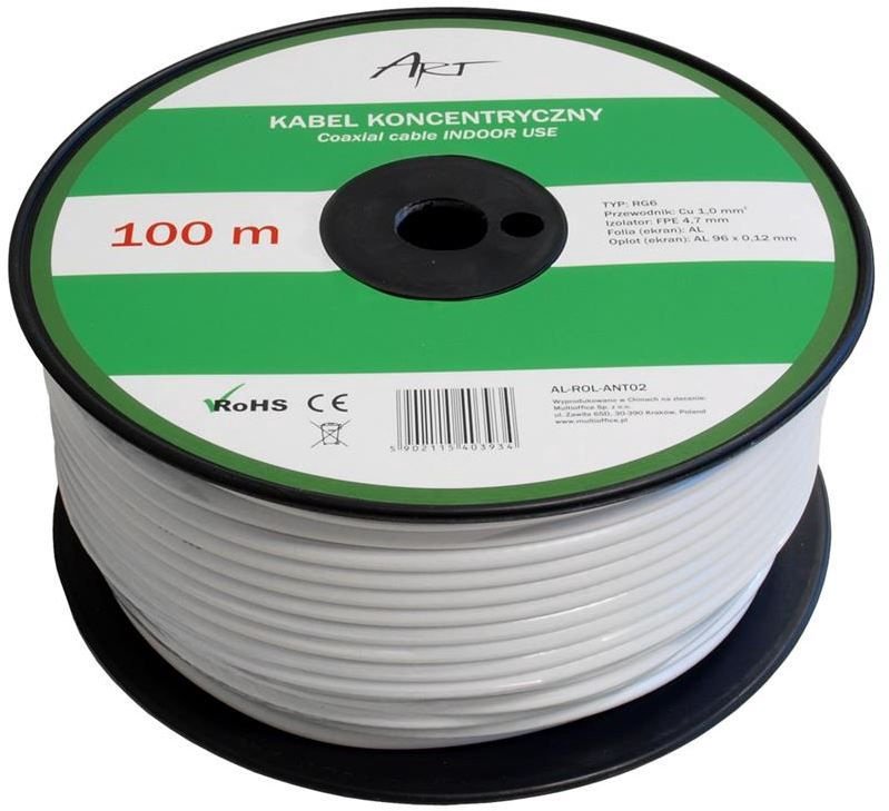 ART Outdoor Cable RG6 White 100m