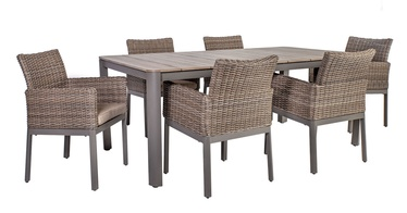 Home4you Admiral Table And 6 Chairs Set Grey