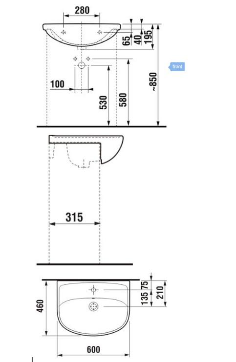 Раковина Jika Lyra Plus, 600 мм x 460 мм x 195 мм