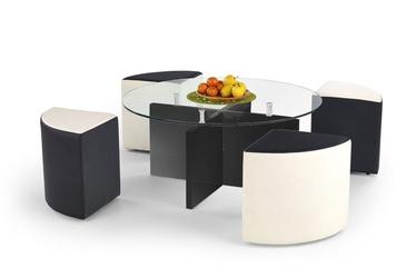 Kavos staliukas Latoya su keturiais pufais, 100 x 100 x 46 cm