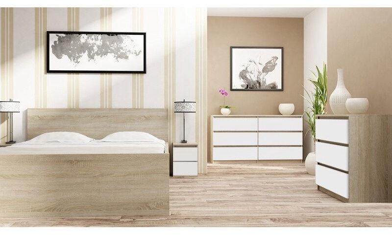 Naktinis staliukas Top E Shop M2 Malwa, baltas/ąžuolo, 40x30x40 cm