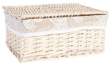 Home4you Willi Leaf Basket With Lid M 36x27xH16cm Light Brown
