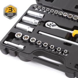 """Sukimo įrankių rinkinys Forte tools 218302, 6-24 mm, 3/8"""", 34 vnt."""