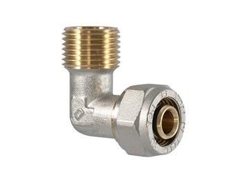 """Užveržiamoji alkūnė, TDM Brass, 26 mm x 3/4"""" x 3 mm, su išoriniu sriegiu"""
