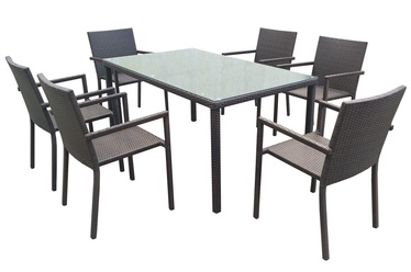 Home4you Basic Table And 6 Chairs Dark Brown