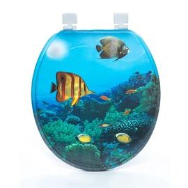 Tualetes poda vāks Thema Lux S701, zils ar zivīm un mīkstu pārklājumu