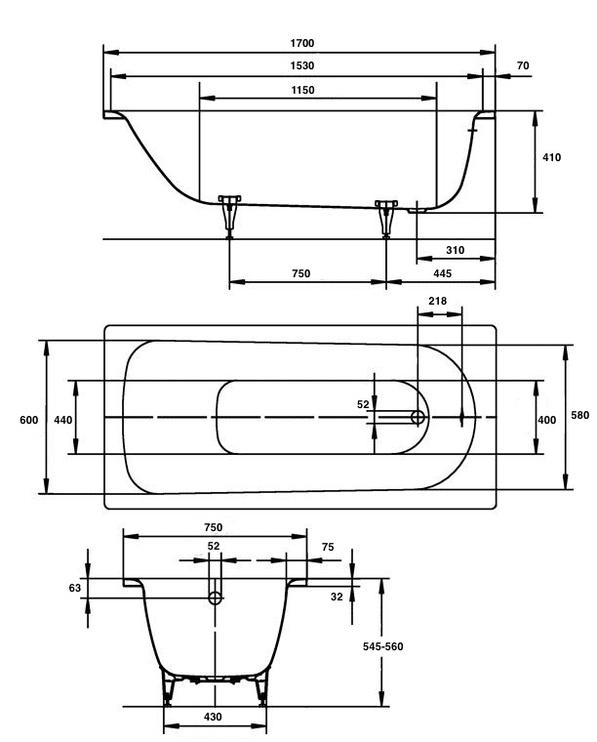Vonia Kaldewei Saniform 373-1, 170x75x41 cm, plienas, stačiakampė