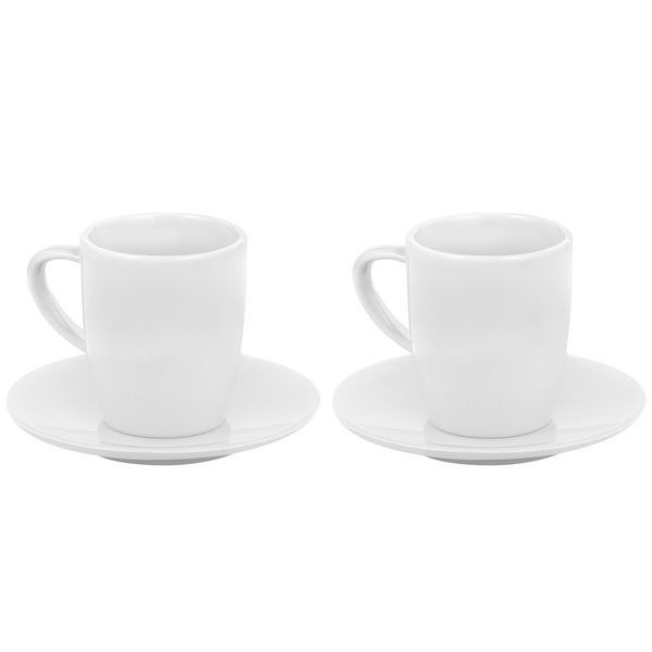 Jura Black Coffee Mugs 135ml x 2pcs White