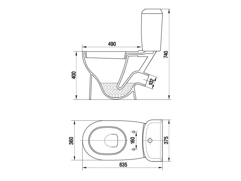 Tualete Keramin City-Lux, ar vāku, 360x635 mm