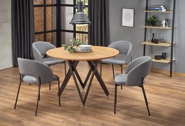 Pusdienu galds Halmar Mozambik Oak/Black, 1200x1200x750 mm
