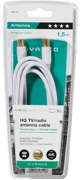 Vivanco HQ TV/Radio Antenna Cable White 1.5m 48119