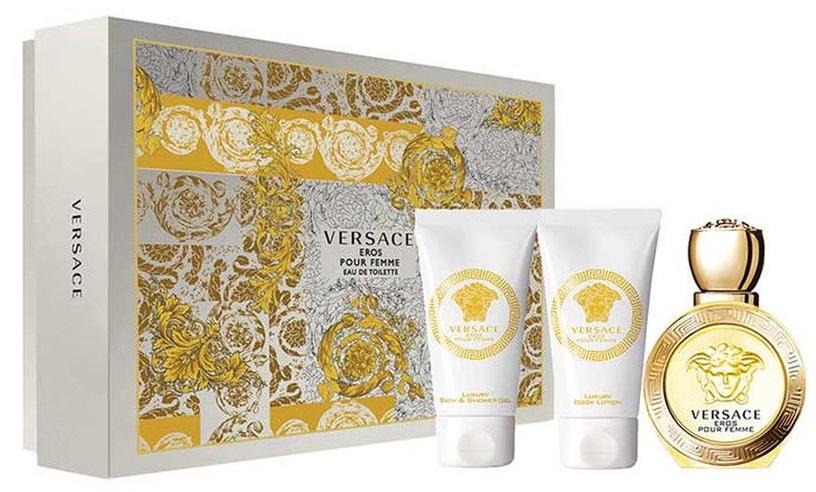 Versace Eros Pour Femme 50ml EDT + 50ml Body Lotion + 50ml Shower Gel New Design