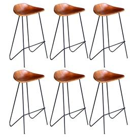 Барный стул VLX Leather 276364, коричневый/черный, 6 шт.