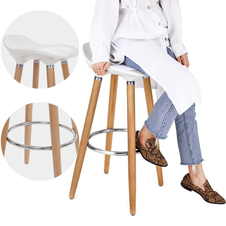 Baro kėdė Songmics Wooden White, 2 vnt.