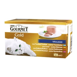 Konservuotas ėdalas suaugusioms katėms Gourmet Gold, su paštetu, 4 x 85 gr