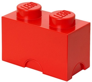 LEGO Storage Brick 2 Knobs Red