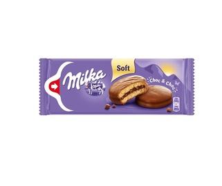 Pyragaičiai MILKA biskvitiniai su kakaviniu įdaru ir šokolado gabaliukais, 150g