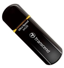 USB atmintinė Transcend Jet Flash 600 Black/Orange, USB 2.0, 64 GB