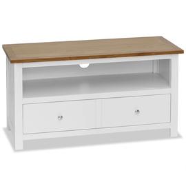 TV galds VLX Solid Oak Wood, brūna/balta, 900 mm x 350 mm x 480 mm